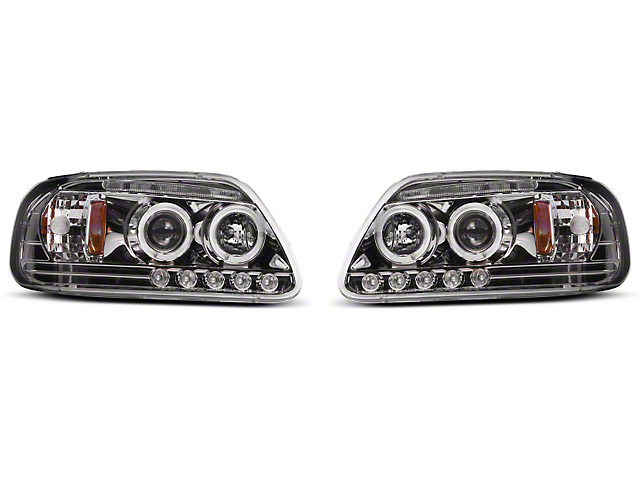 Axial Chrome LED Dual Halo Projector Headlights (97-03 All)