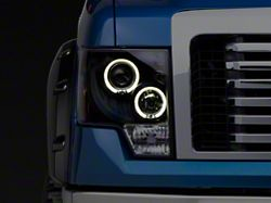 Dual LED Halo Projector Headlights; Black (09-14 F-150 w/o Factory HID Headlights)