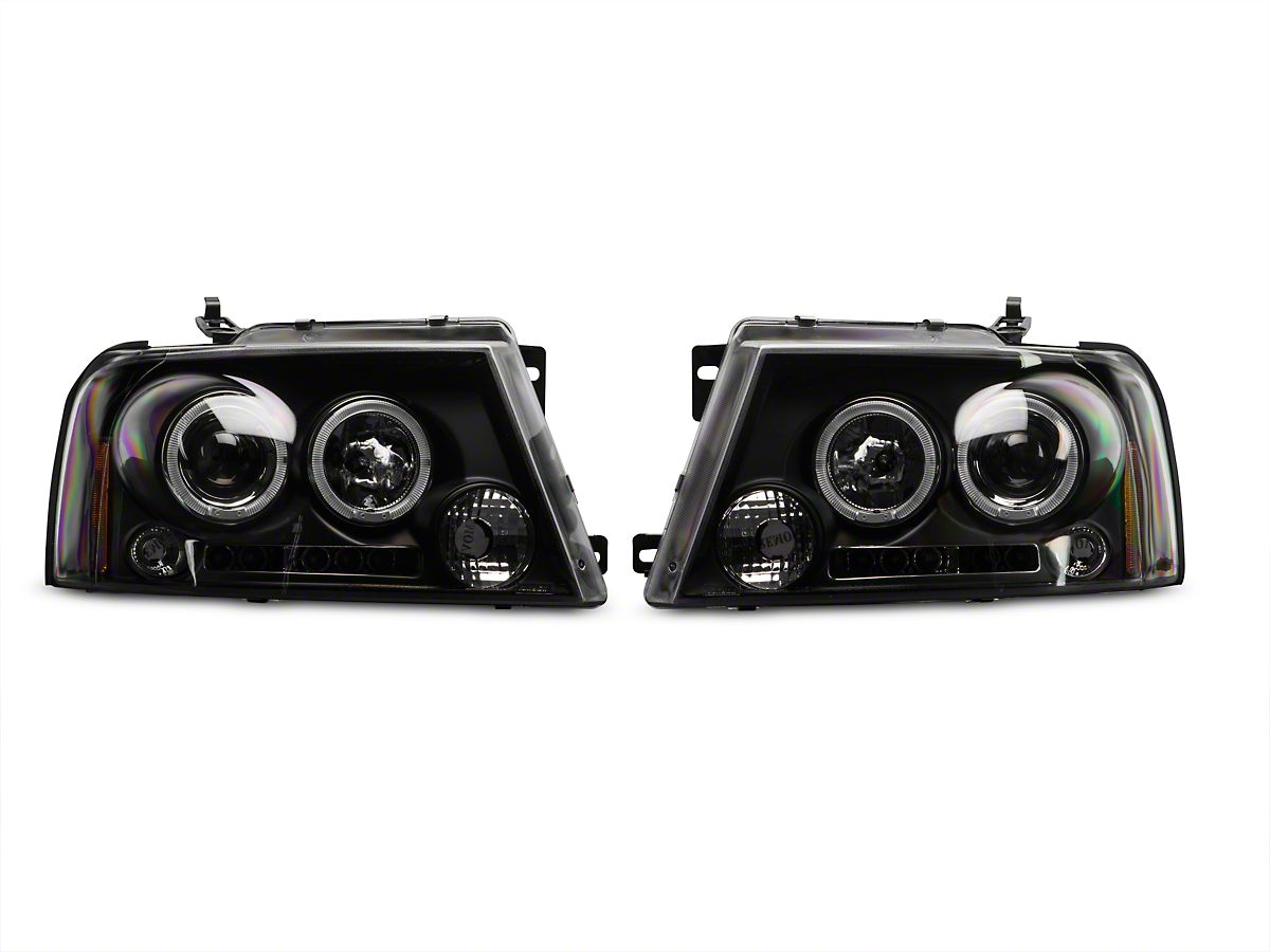 Axial Black Dual Halo LED Projector Headlights (04-08 F-150) on