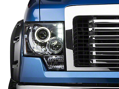 Axial Chrome Dual Halo LED Projector Style Headlights (09-14 w/o Factory HID)
