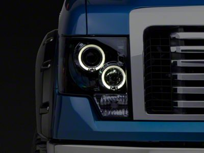 Smoked Dual Halo LED Projector Style Headlights (09-14 F-150 w/o Factory HID)