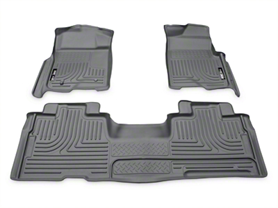 Husky WeatherBeater Front & 2nd Seat Floor Liners - Gray (09-14 SuperCab, SuperCrew)