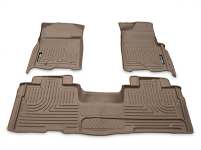 Husky WeatherBeater Front & 2nd Seat Floor Liners - Tan (09-14 SuperCab, SuperCrew)