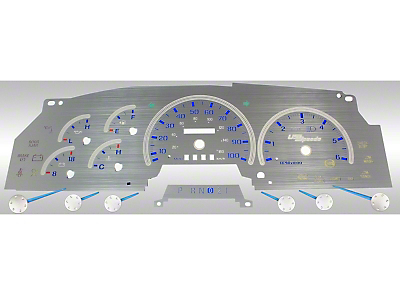 Stainless Steel Gauge Face Kit - Blue (97-98 All)