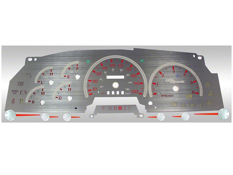 Stainless Steel Gauge Face Kit - Red (97-98 All)