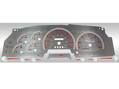 US Speedo Stainless Steel Gauge Face Kit - Red (97-98 F-150)