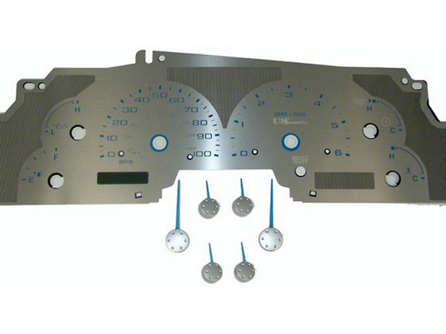Stainless Steel Gauge Face Kit - Blue (99-03 All)