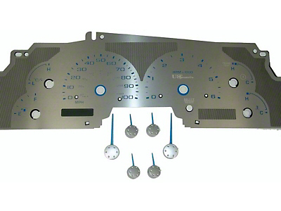 US Speedo Stainless Steel Gauge Face Kit - Blue (99-03 F-150)