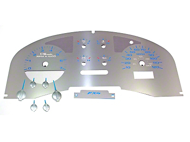 US Speedo Stainless Steel Gauge Face Kit - Blue (04-08 F-150 FX4; 07-08 F-150 FX2)