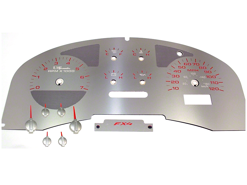 US Speedo Stainless Steel Gauge Face Kit - Red (04-08 F-150 FX4; 07-08 F-150 FX2)