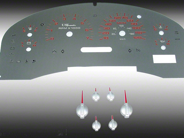 Stainless Steel Gauge Face Kit - Red (04-08 XLT)