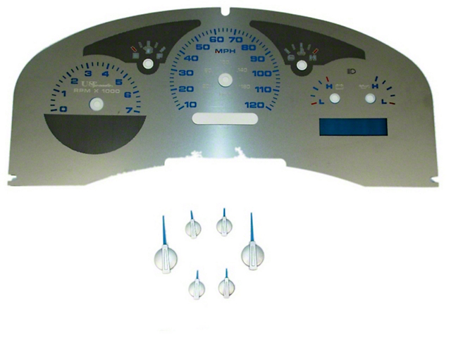 US Speedo Stainless Steel Gauge Face Kit - Blue (07-08 Lariat)