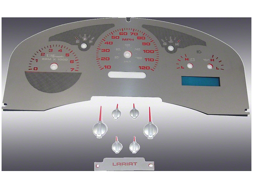 US Speedo Stainless Steel Gauge Face Kit - Red (07-08 Lariat)