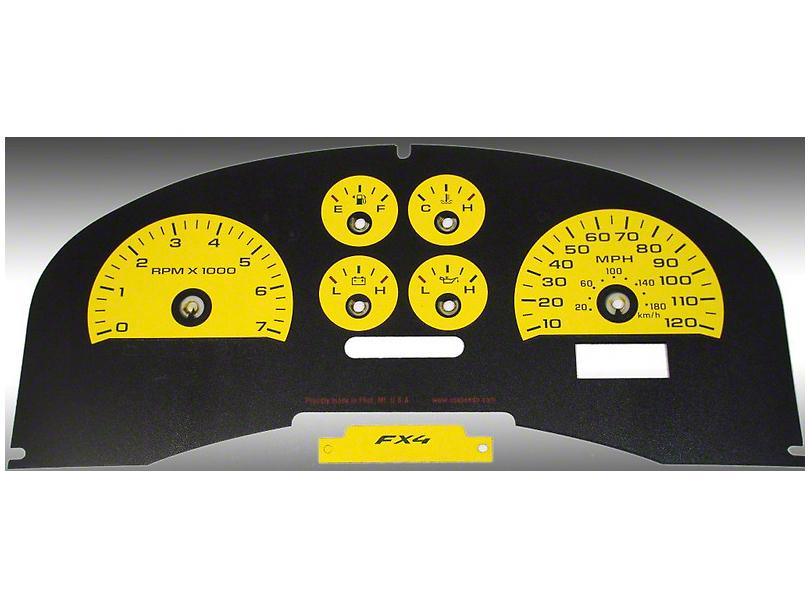 US Speedo Daytona Edition Gauge Face Kit - Yellow (04-08 F-150 FX4; 07-08 F-150 FX2)