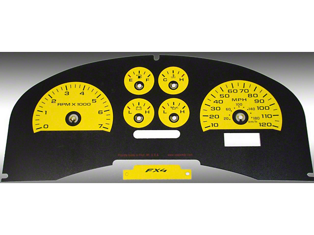 US Speedo Daytona Edition Gauge Face Kit - Yellow (04-08 FX4; 07-08 FX2)