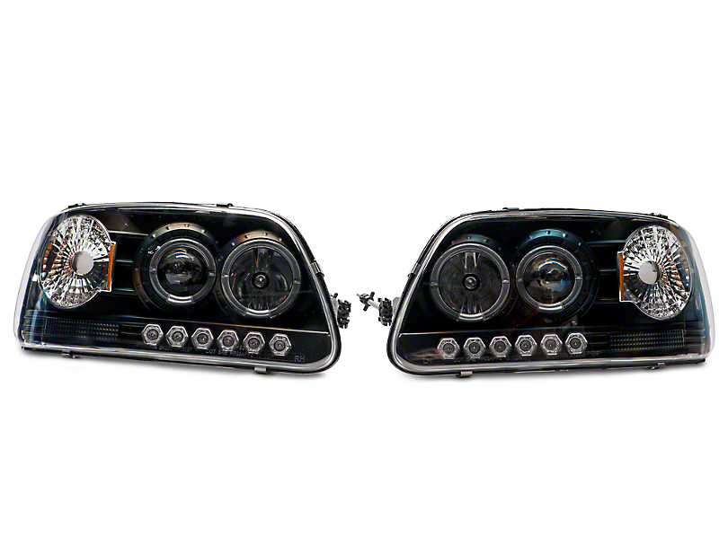 Axial Black Projector Headlights with Halo & Corner Lights (97-03 All)