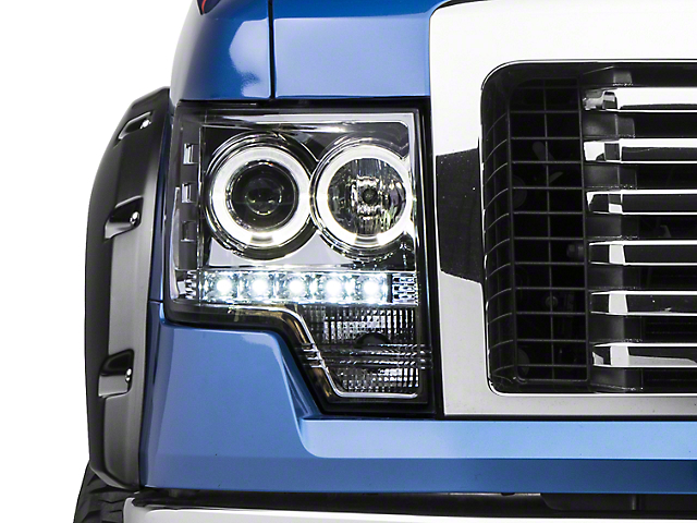 Axial Chrome Projector Headlights w/ Halo (09-14 w/o Factory HID)