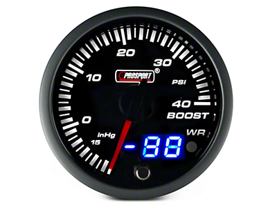Dual Display 40 PSI Boost/Vac Gauge - Electrical - Amber/White (97-17 All)