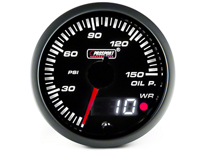 Dual Display Oil Pressure Gauge - Electric, Amber/White (97-17 All)