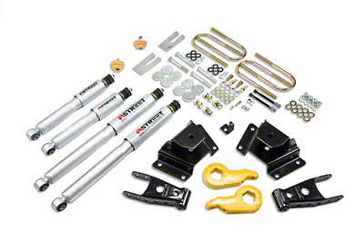 Belltech Stage 3 Lowering Kit w/ Street Performance Shocks - 1 in. or 3 in. Front / 4 in. Rear (97-03 4WD)