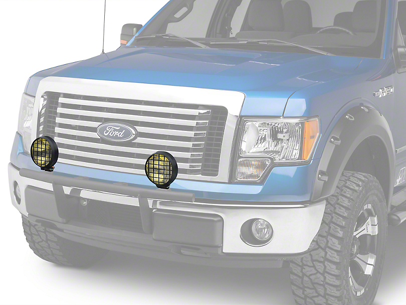 Delta 6 in. 100 Series Black Thinline Amber Fog Light Kit - 55 Watt Halogen - Pair (97-18 F-150)