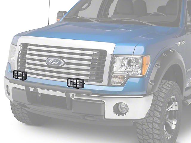 Delta 250 Series Rectangular Driving Light Kit w/ Stone Guard - 55 Watt Halogen - Pair (97-18 All)