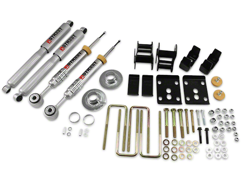 Belltech Stage 3 +1 in. to - 3 in. Front / 4 in. Rear Lowering Kit w/ Street Performance Shocks (09-13 2WD w/ Short Bed)