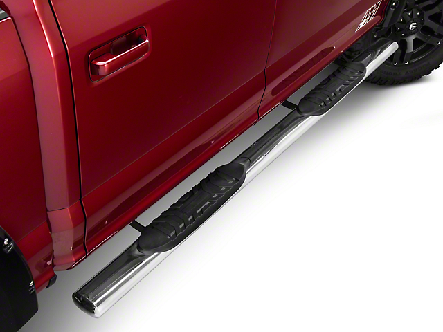 Barricade 5 in. Oval Straight Side Step Bars - Stainless (15-18 All)