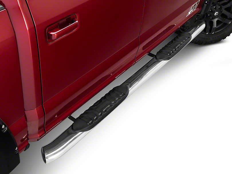 Barricade 5 in. Oval Side Step Bars - 60 Degree Ends - Stainless (15-17 All)