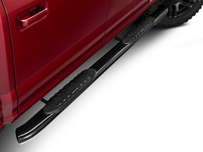 Barricade 5 in. Oval 60 Degree Bent End Side Step Bars - Black (15-19 F-150 SuperCrew)