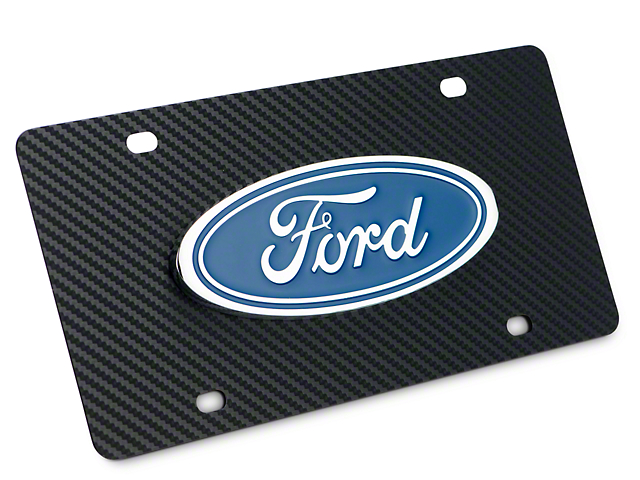 Ford License Plate w/ Carbon Fiber Wrap - Ford Oval (97-18 All)