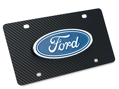 Ford License Plate w/ Carbon Fiber Wrap - Ford Oval (97-18 F-150)