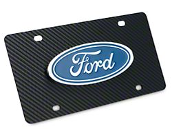 Ford License Plate w/ Carbon Fiber Wrap - Ford Oval (Universal Fitment)