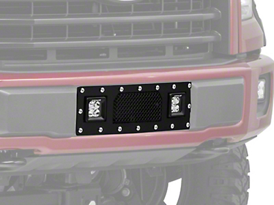 T-REX Torch Series Lower Bumper Grille Insert w/ Dual 3 in. Square LED Lights - Black (15-17 2.7L/3.5L EcoBoost, Excluding Raptor)