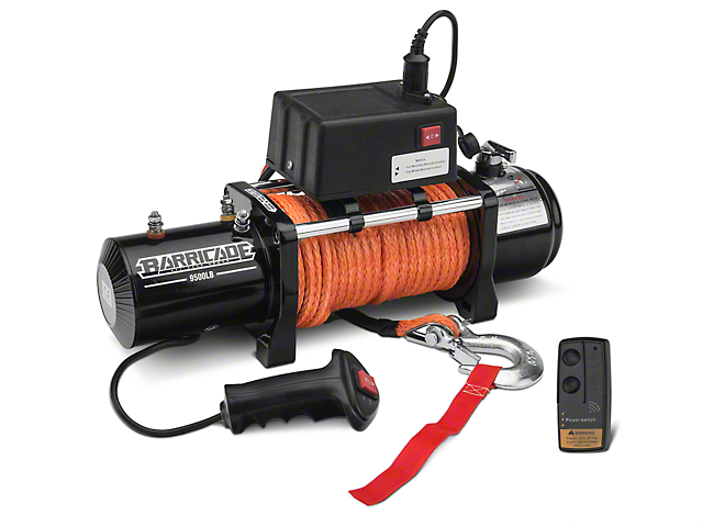 Barricade 9,500 lb. Winch w/ Synthetic Rope & Wireless Control (97-18 All)