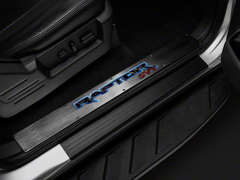 Recon Billet Raptor Logo Door Sill - Front Doors - Brushed Finish (10-14 F-150 Raptor)