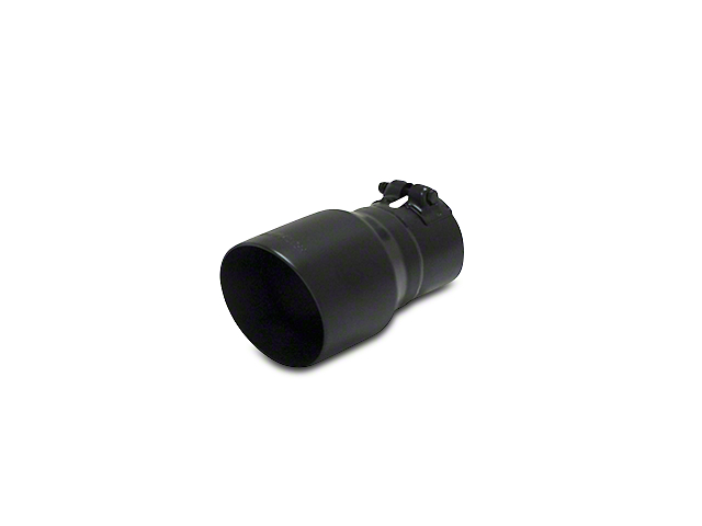 Flowmaster 4 in. Angle Cut Round Exhaust Tip - Black Ceramic Stainless - 3 in. Connection (97-18 All)