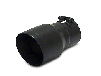 Flowmaster 4 in. Angle Cut Round Exhaust Tip - Black Ceramic Stainless - 3 in. Connection (97-17 All)