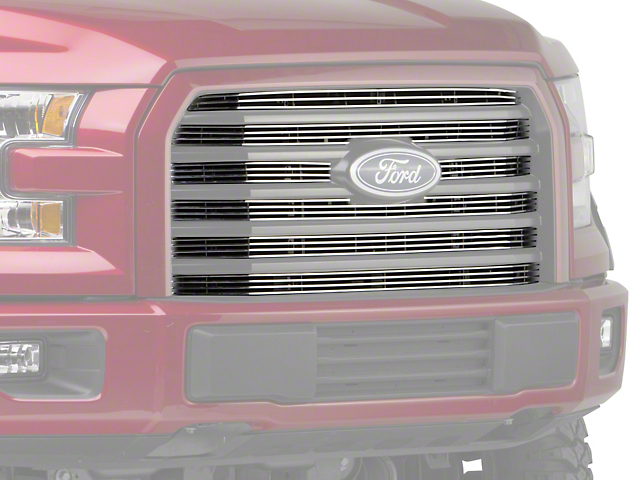 Modern Billet 6 Piece Upper Overlay Grille - Polished (15-17 F-150 XLT; 2017 F-150 XL w/ STX Package)