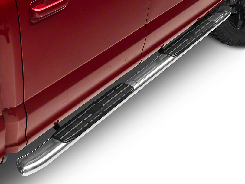 Barricade Pinnacle 4 in. Oval Bent End Side Step Bars - Stainless (15-18 F-150 SuperCab, SuperCrew)