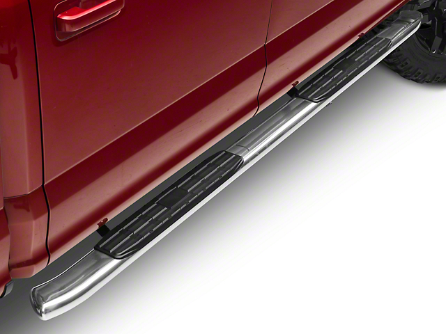 Barricade Pinnacle 4 in. Oval Bent End Side Step Bars - Stainless (15-18 SuperCab, SuperCrew)