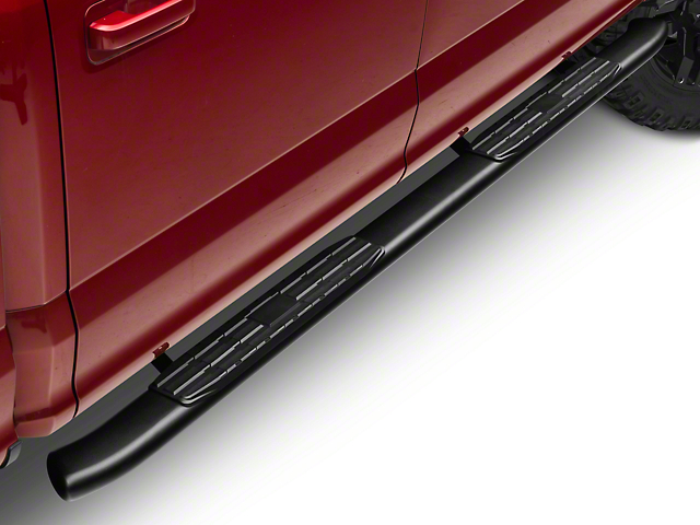 Barricade Pinnacle 4 in. Oval Bent End Side Step Bars - Textured Black (15-18 F-150 SuperCab, SuperCrew)