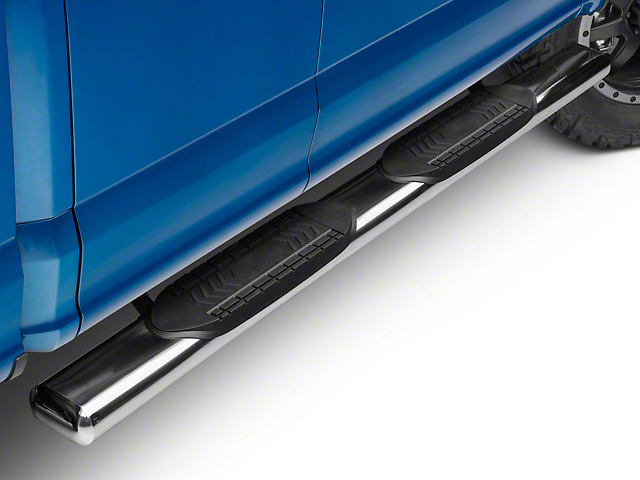Barricade 6 in. Oval Straight End Side Step Bars - Stainless Steel (15-19 F-150 Regular Cab, SuperCab)