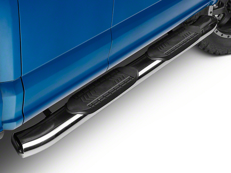 Barricade 6 in. Oval Bent Side Step Bars - Stainless Steel (15-19 F-150 Regular Cab, SuperCab)