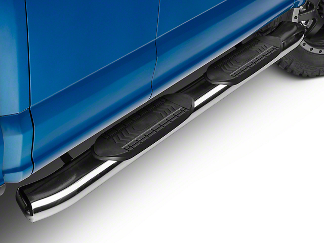 Barricade 6 in. Oval Bent Side Step Bars - Stainless (15-18 Regular Cab, SuperCab)