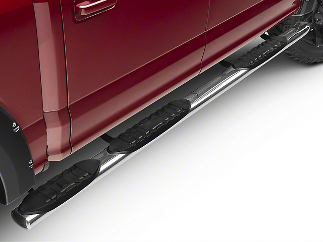 Barricade 5 in. Oval Bent End Wheel to Wheel Side Step Bars - Stainless Steel (15-18 F-150 SuperCab w/ 6.5 ft. Bed, SuperCrew w/ 5.5 ft. Bed)