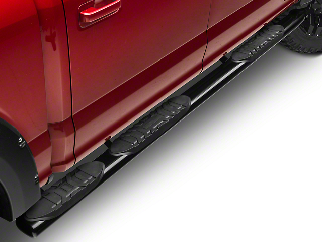 Barricade 5 in. Oval Bent End Wheel to Wheel Side Step Bars - Black (15-18 SuperCab, SuperCrew)