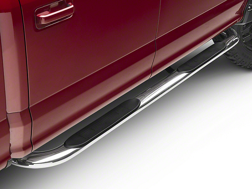 Barricade 4 in. Oval 90 Degree Bent End Side Step Bars - Stainless Steel (15-19 F-150)