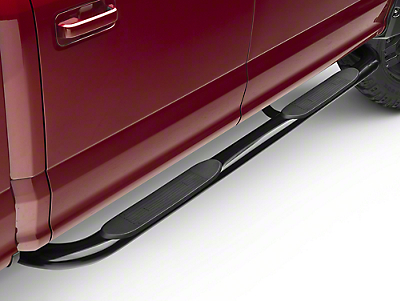 Barricade 4 in. Oval Bent Side Step Bar - 90 Degree Ends - Black (15-17 SuperCab)
