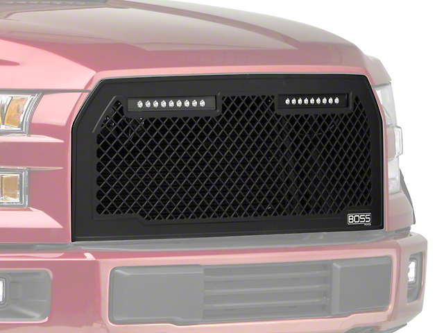 Putco Boss Upper Replacement Grille w/ Two 10 in. LED Light Bars (15-17 F-150, Excluding Raptor)